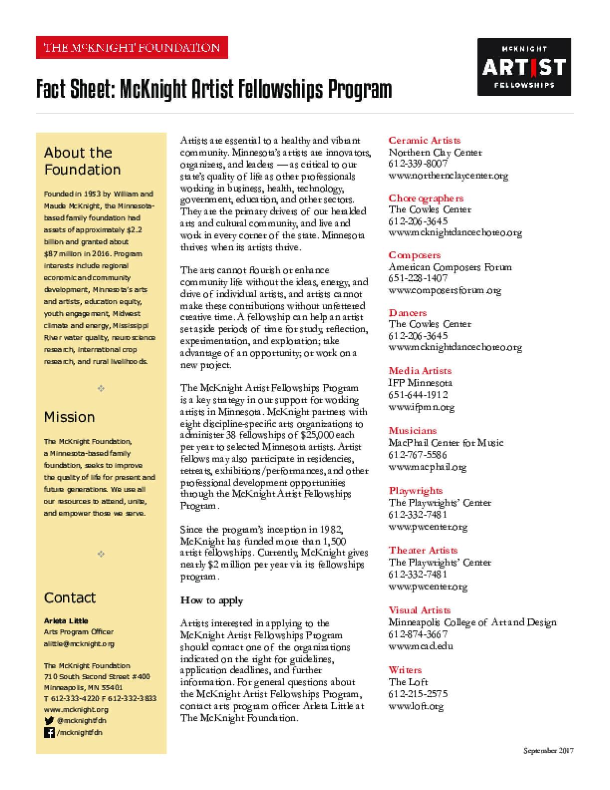 Fact Sheet: McKnight Artist Fellowships Program
