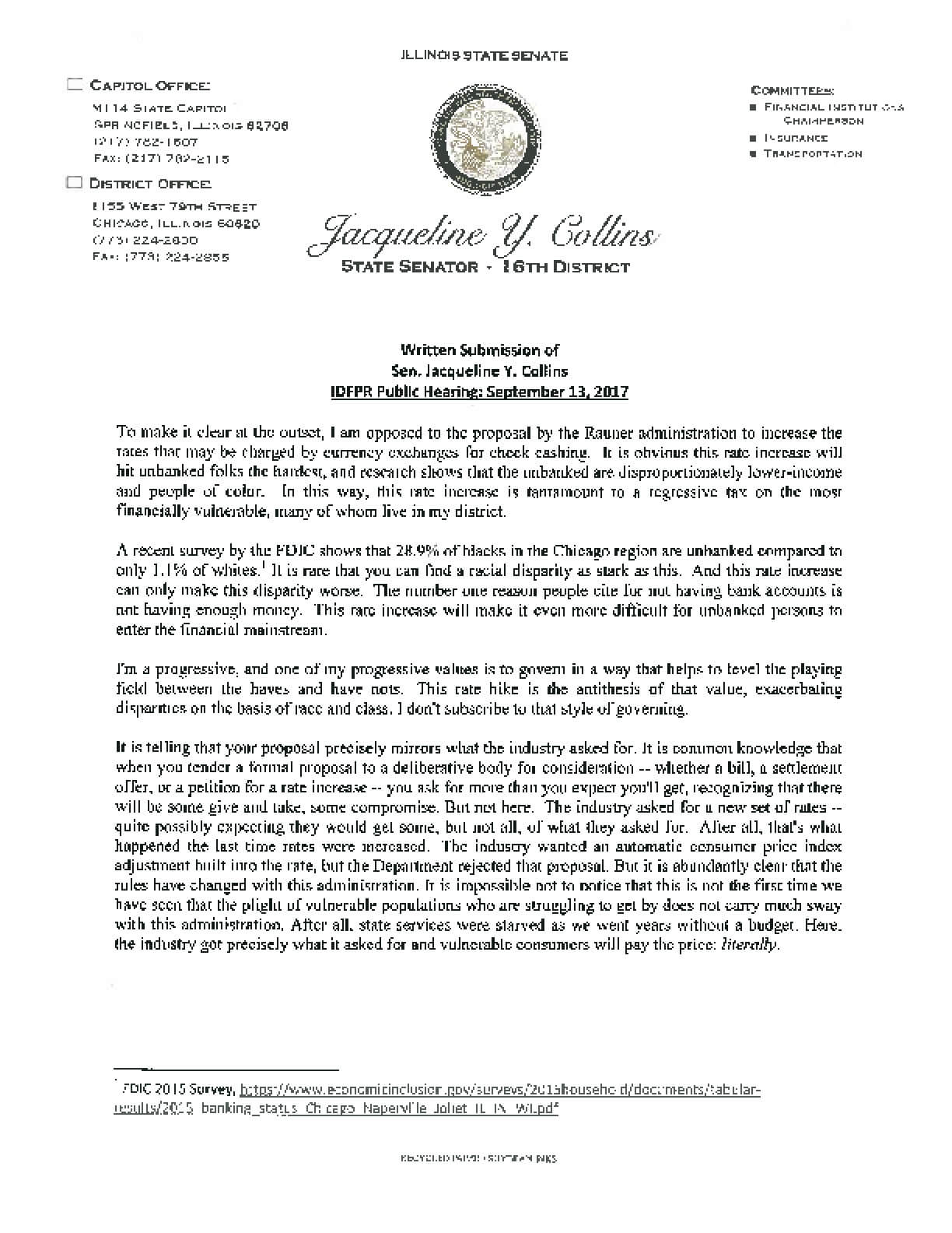 Testimony of Sen. Jacqueline Y. Collins to Illinois Department of Financial and Professional Regulation on Currency Exchange Rates