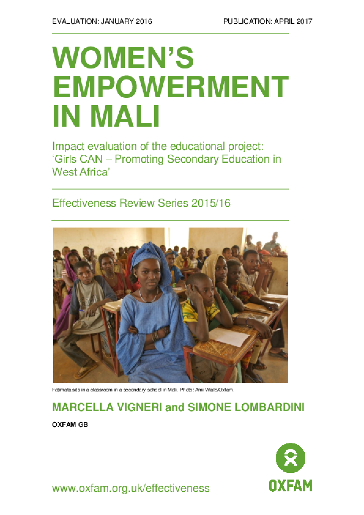 Women's Empowerment in Mali: Impact evaluation of the educational project: 'Girls CAN - Promoting Secondary Education in West Africa'