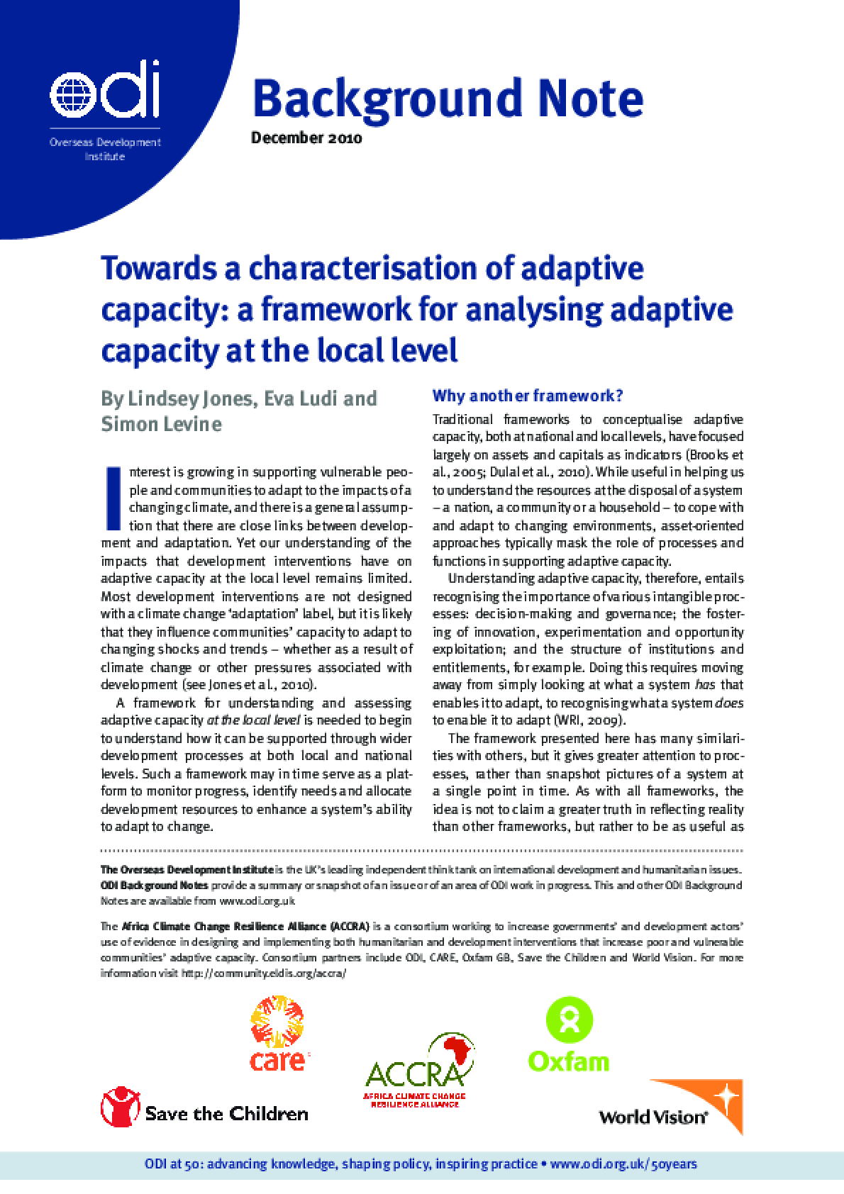 Towards a characterisation of adaptive capacity: A framework for analysing adaptive capacity at the local level