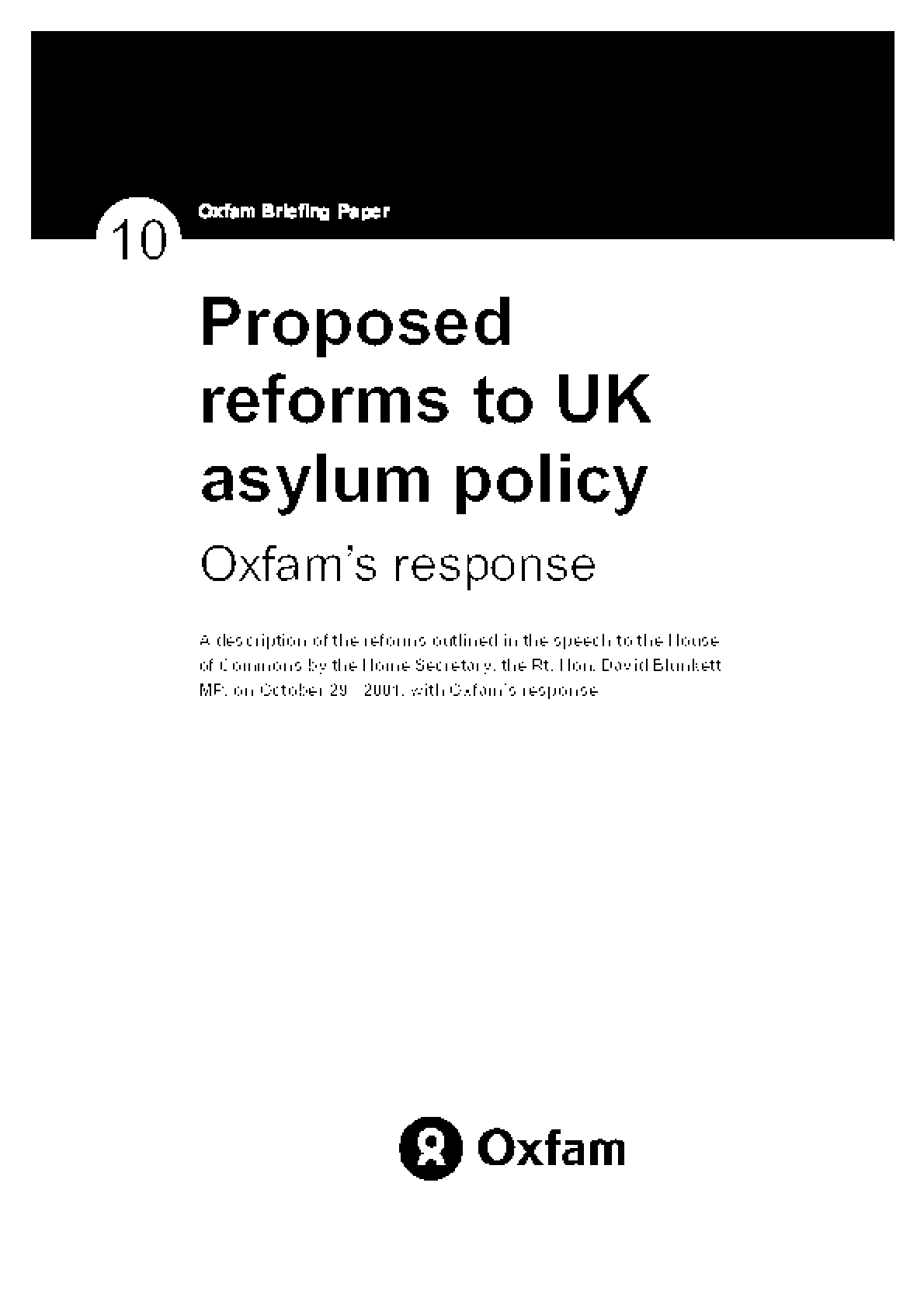 Proposed Reforms to UK Asylum Policy: Oxfam's response
