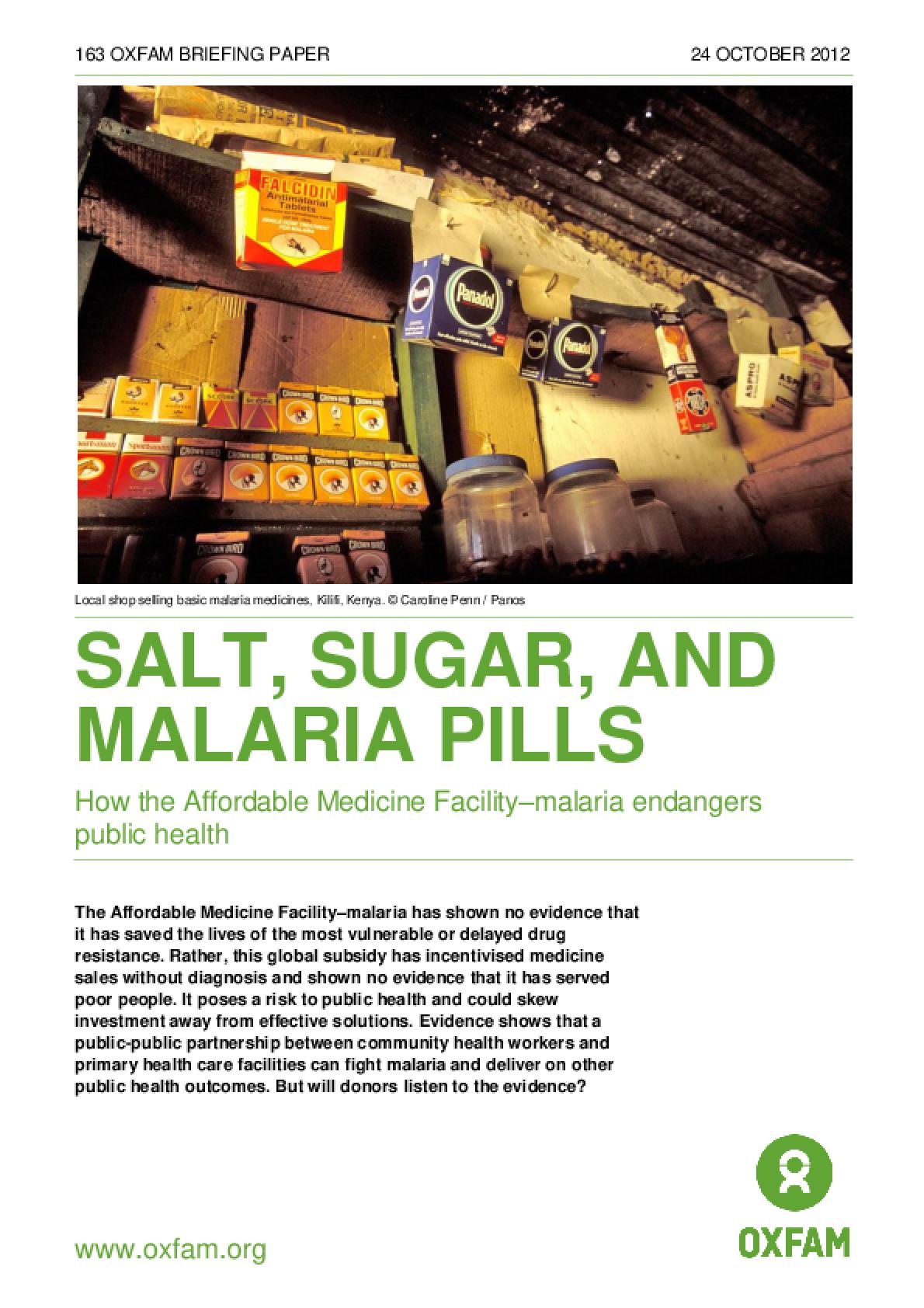 Salt, Sugar, and Malaria Pills: How the Affordable Medicine Facility-malaria endangers public health