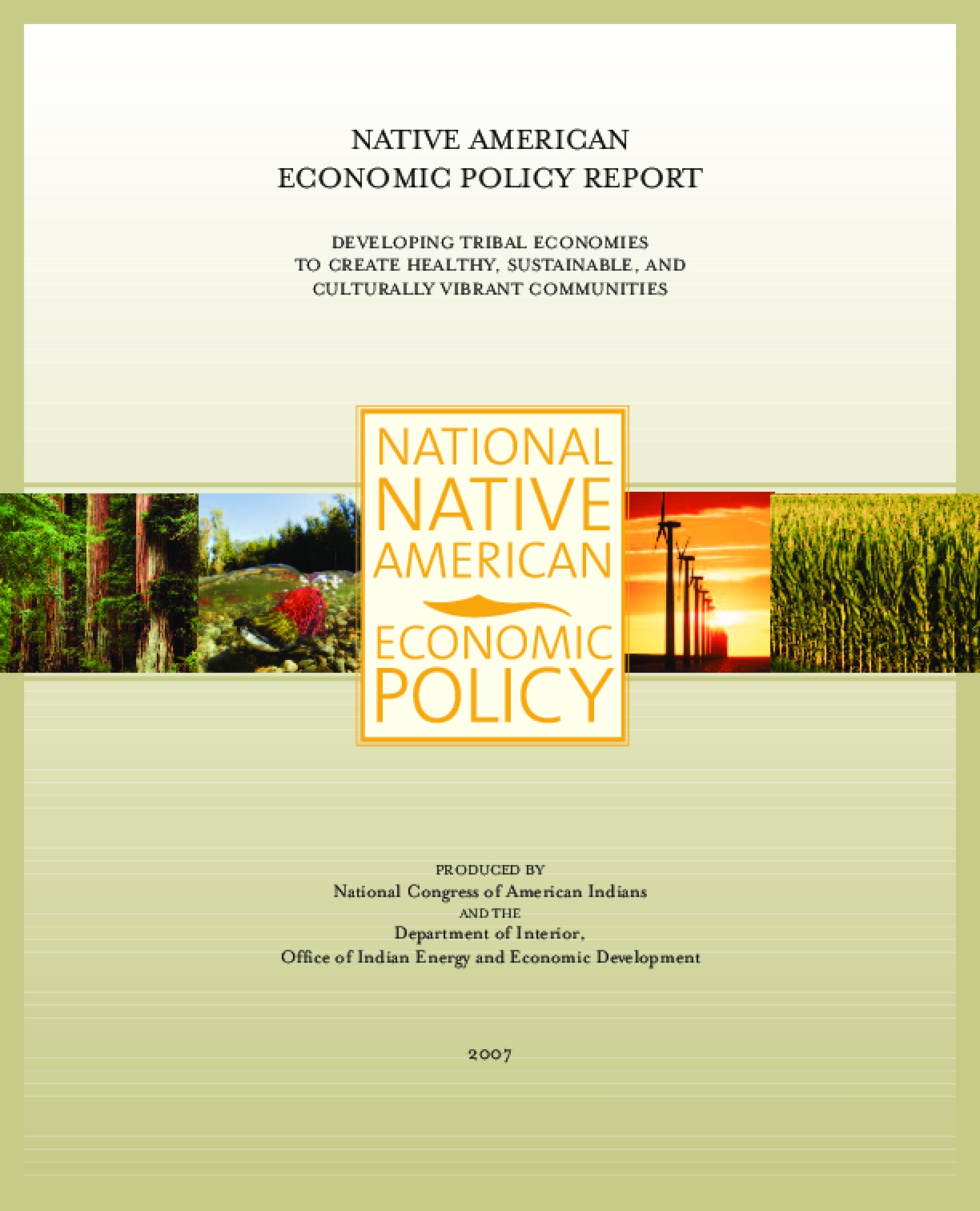 Native American Economic Policy Report: Developing Tribal Economies to Create Healthy, Sustainable, and Culturally Vibrant Communities