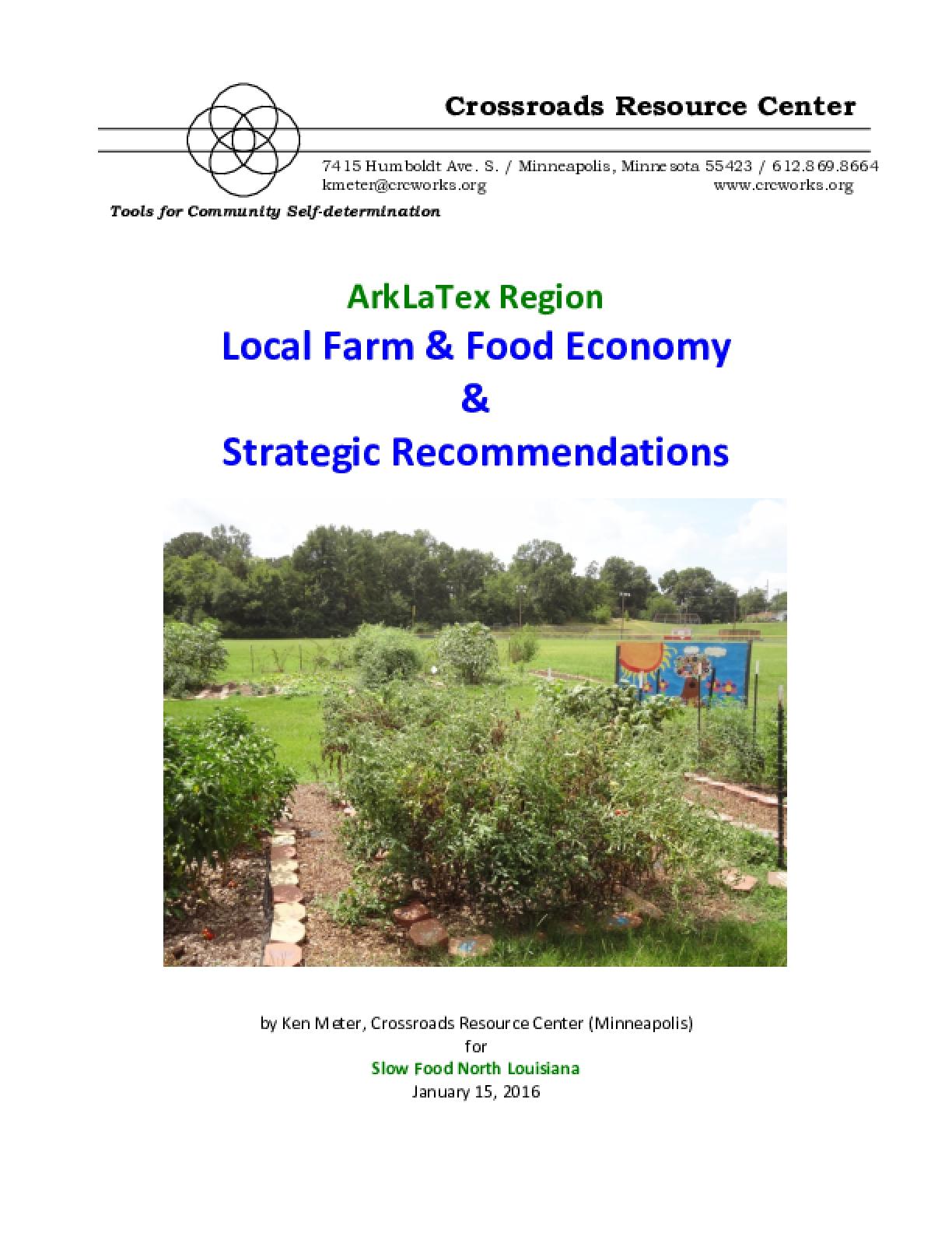 ArkLaTex Region Local Farm & Food Economy & Strategic Recommendations
