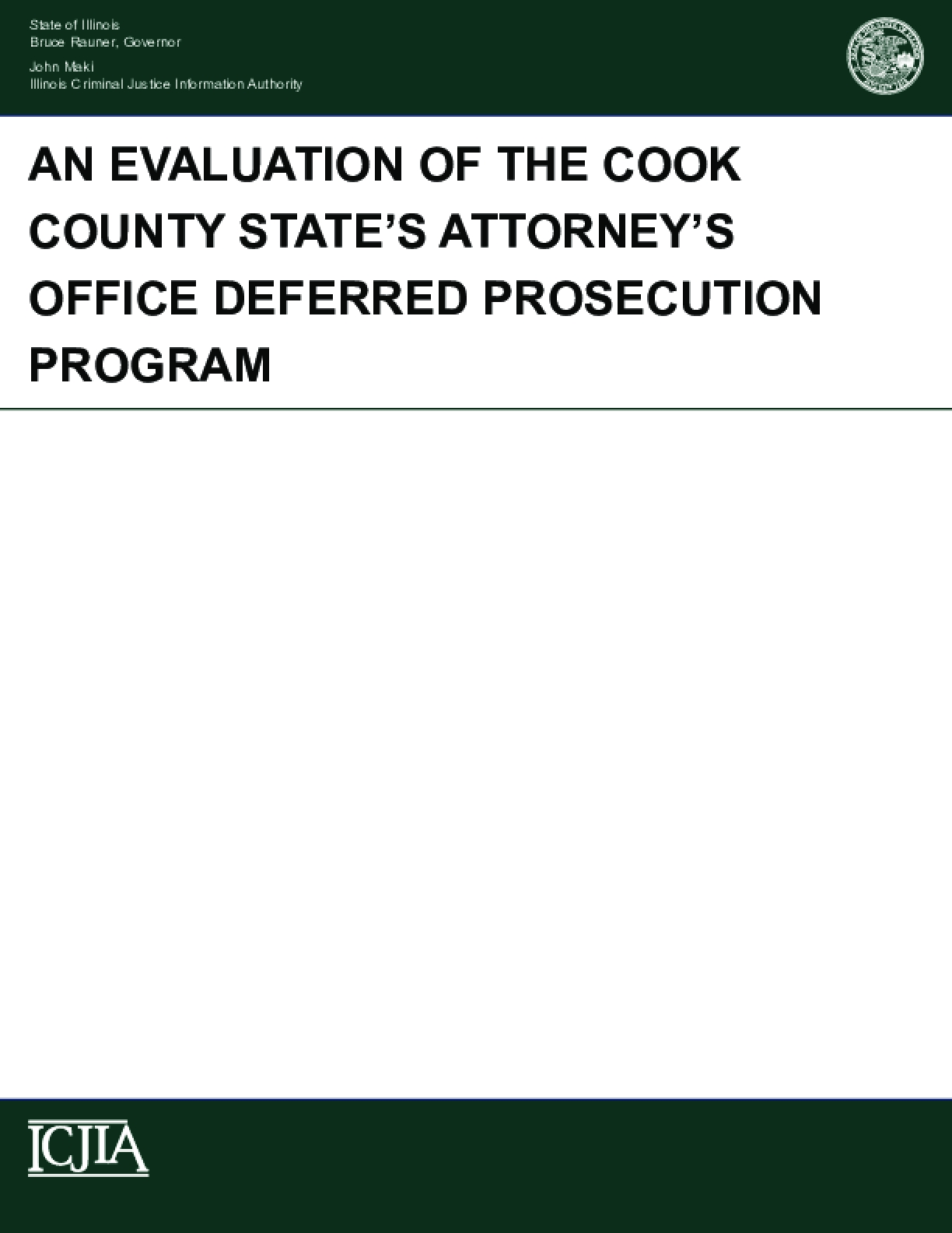 An Evaluation of the Cook County State's Attorney's Office Deferred Prosecution Program