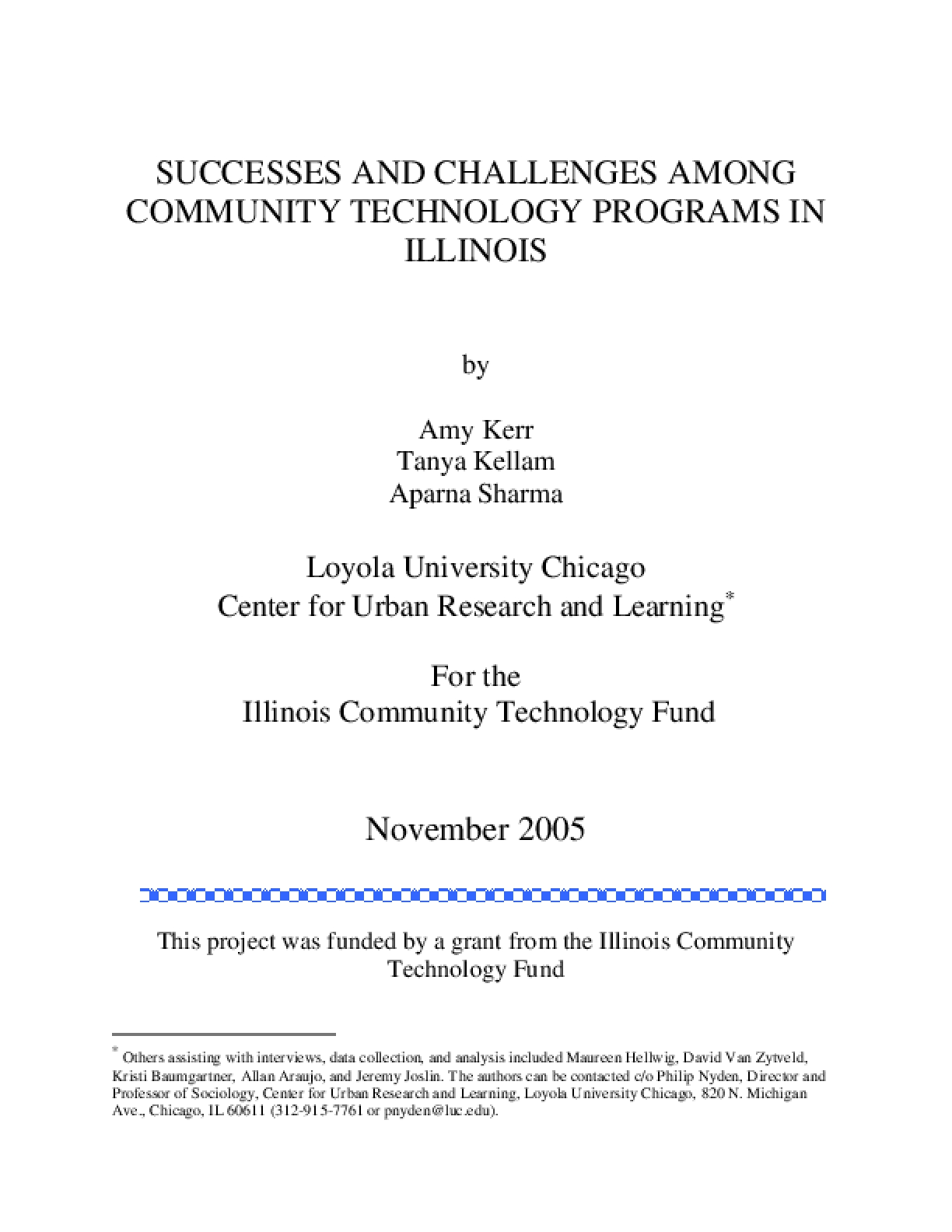 Success and Challenges Among Community Technology Programs in Illnois