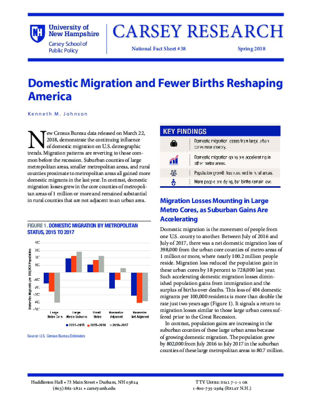 Domestic Migration and Fewer Births Reshaping America