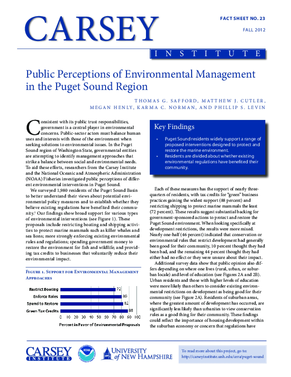 Public Perceptions of Environmental Management in the Puget Sound Region