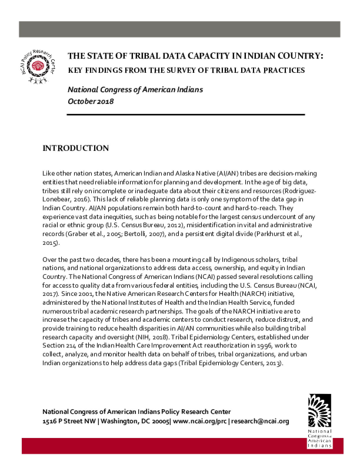 The State of Tribal Data Capacity in Indian Country: Key Findings from The Survey of Tribal Data Practices
