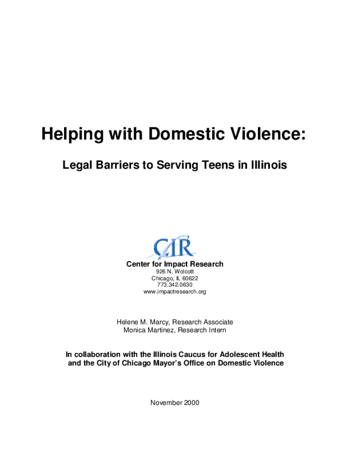 Helping with Domestic Violence: Legal Barriers to Serving Teens in Illinois
