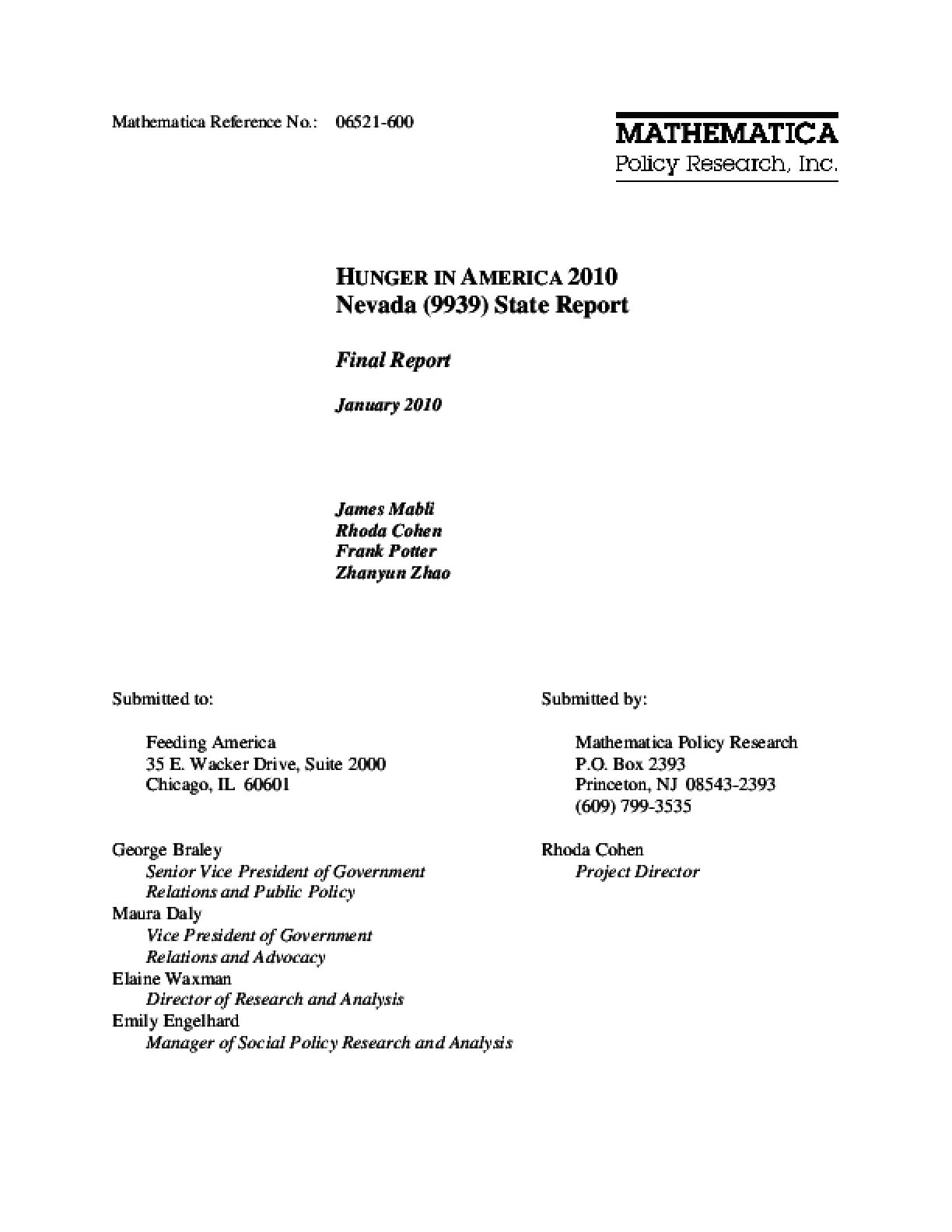 Hunger in America 2010 Nevada State Report