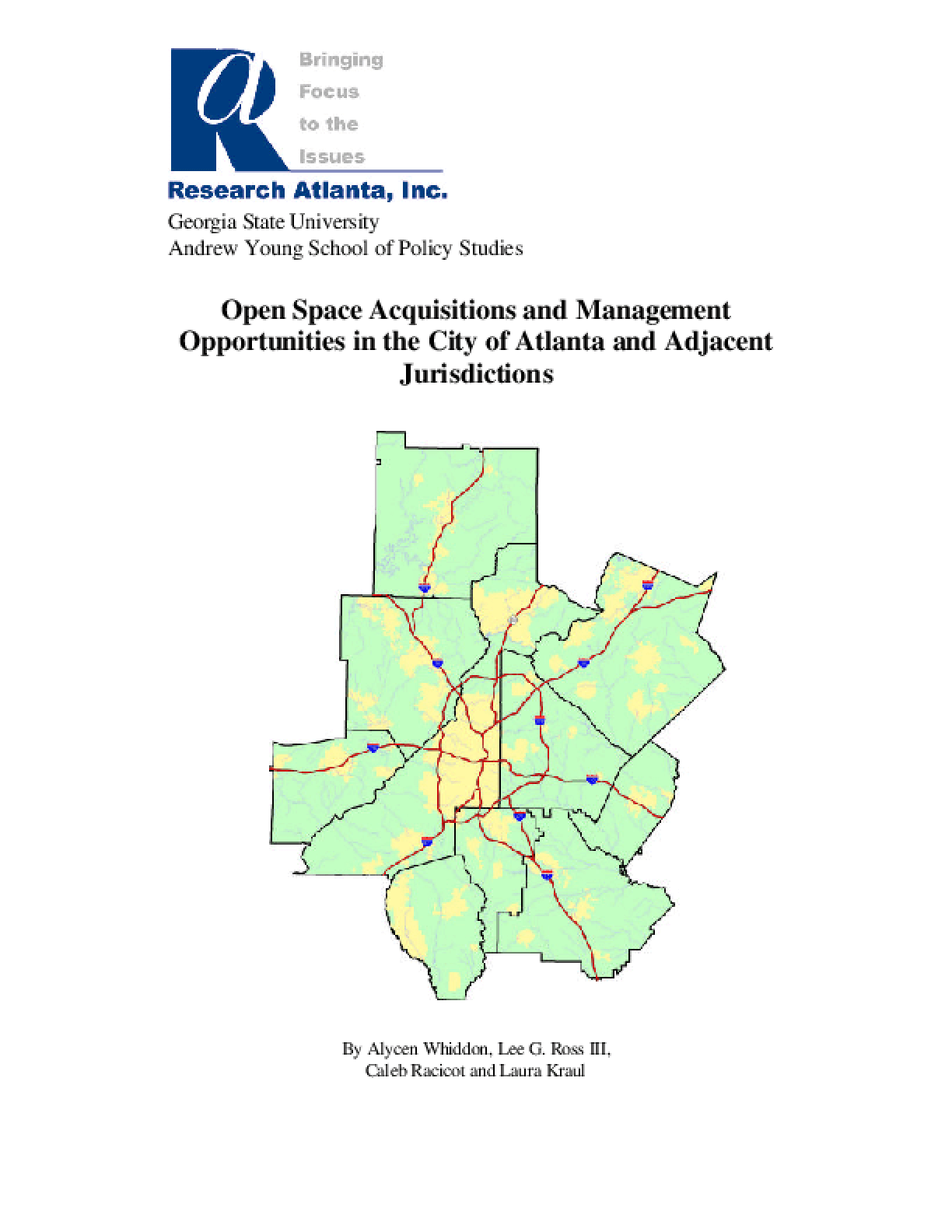 Open Space Acquisitions and Management Opportunities in the City of Atlanta and Adjacent Jurisdictions