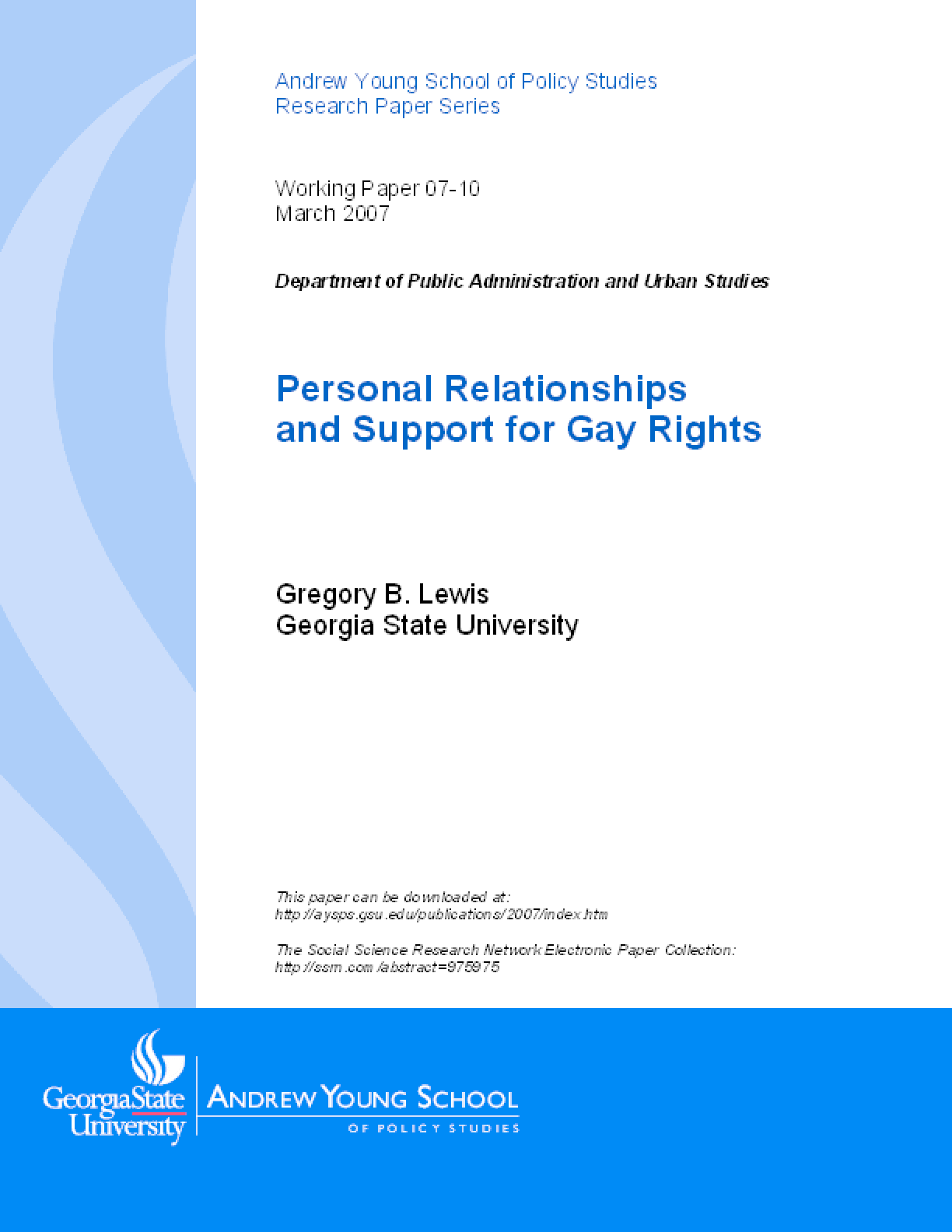 Personal Relationships and Support for Gay Rights