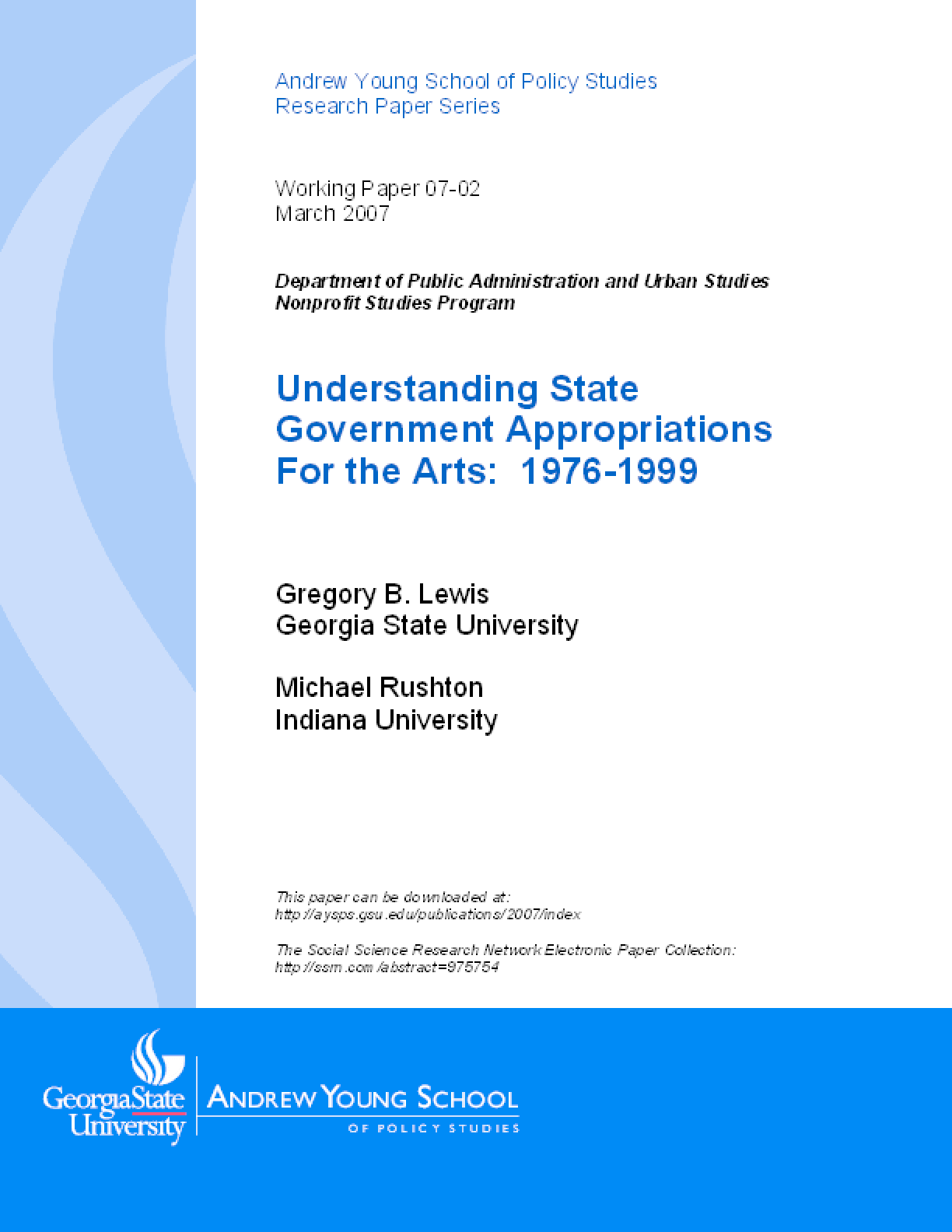 Understanding State Government Appropriations For the Arts: 1976-1999