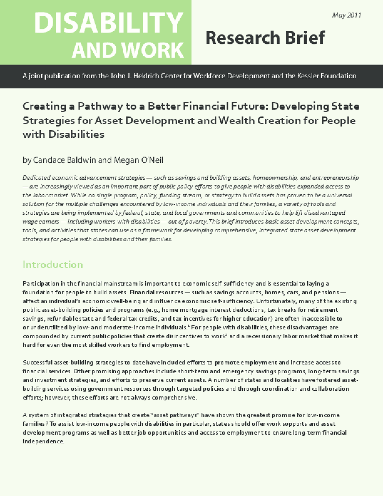 Creating a Pathway to a Better Financial Future: Developing State Strategies for Asset Development and Wealth Creation for People with Disabilities