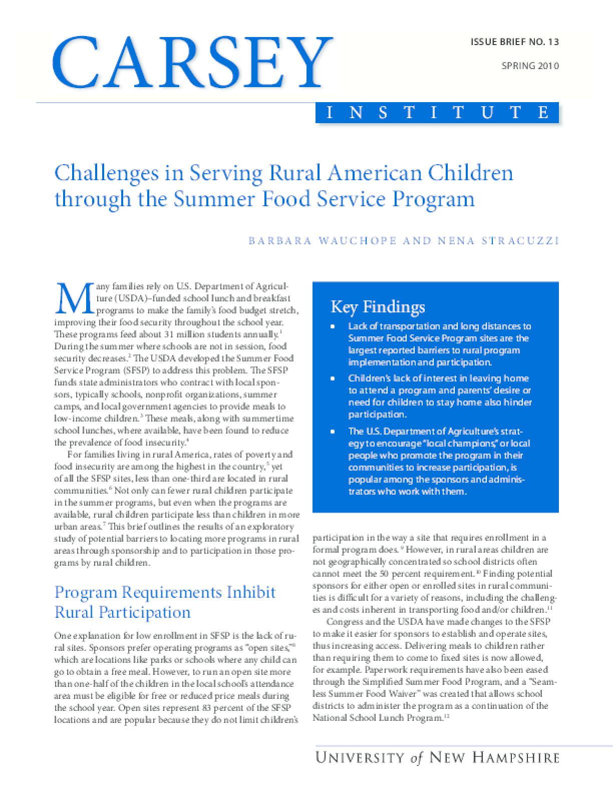 Challenges in Serving Rural American Children Through the Summer Food Service Program