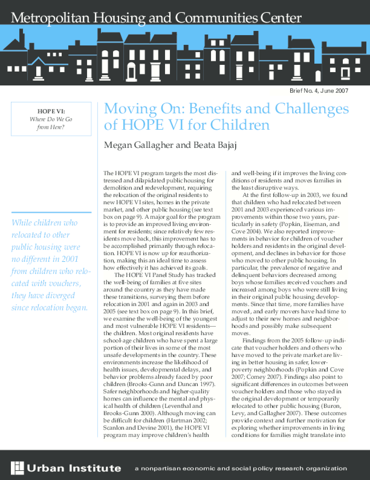 Moving On: Benefits and Challenges of HOPE VI for Children