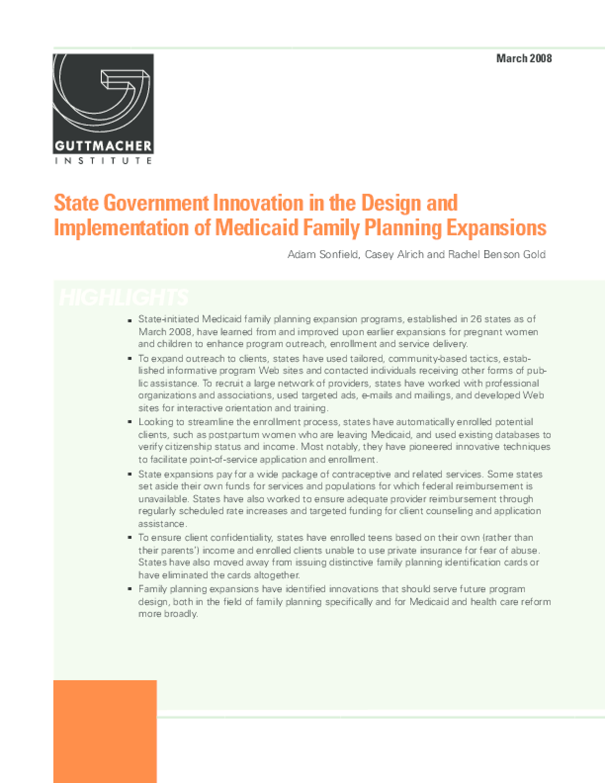 State Government Innovation in the Design and Implementation of Medicaid Family Planning Expansions
