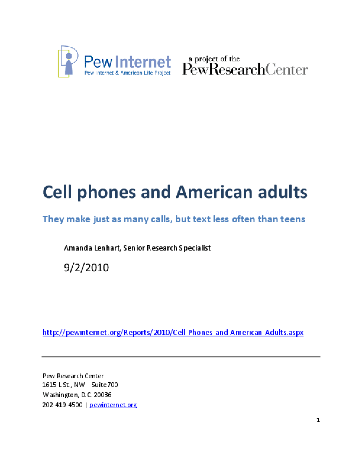 Cell Phones and American Adults